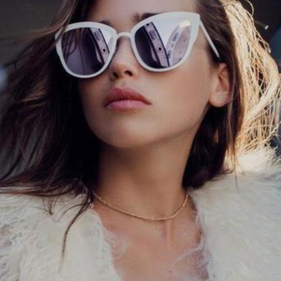 1c0050ed1d Quay Supergirl White Lilac Cat Eye Sunglasses. M 5b331550aaa5b8006ac57a23
